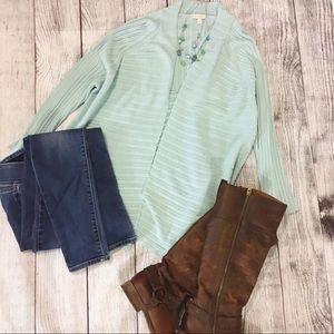 Talbots Open Cardigan Sweater Mint Blue Green 3X
